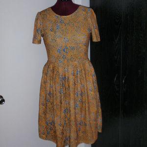 LuLaRoe Amelia Fit and Flare Dress Blue Yellow XL